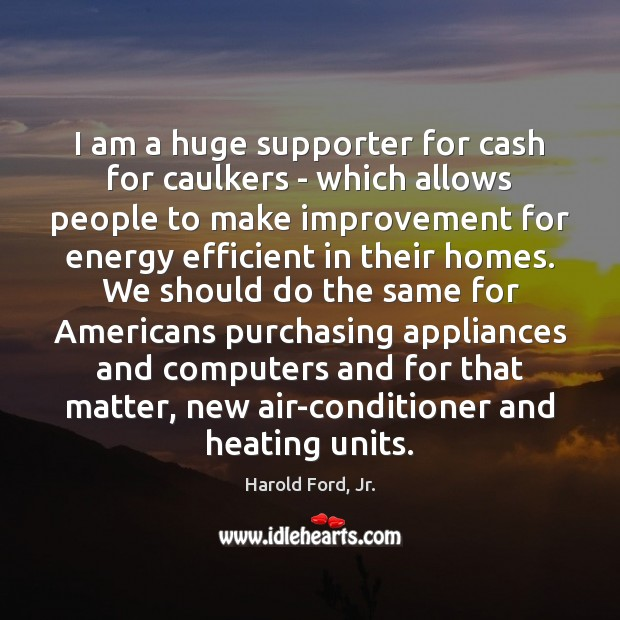 Image, I am a huge supporter for cash for caulkers – which allows