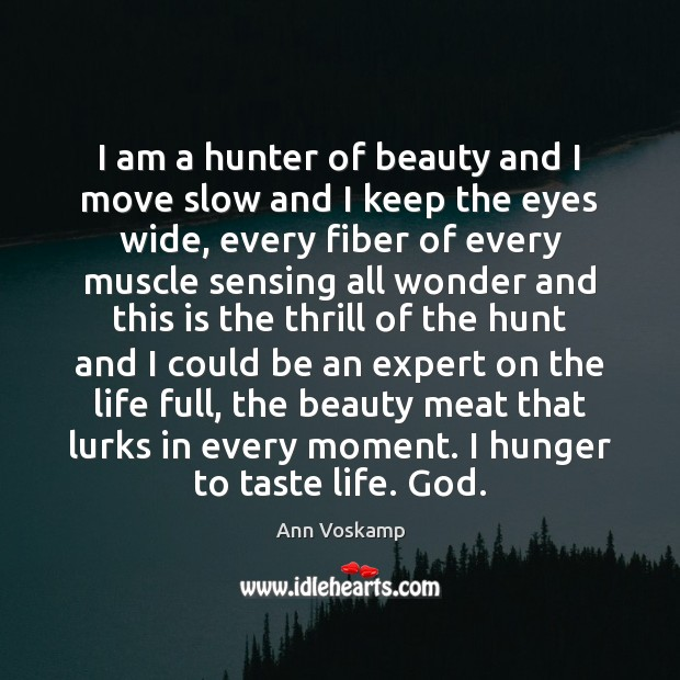 Image, I am a hunter of beauty and I move slow and I