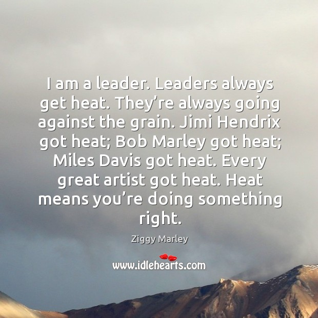 I am a leader. Leaders always get heat. Image