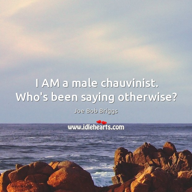 Image, I AM a male chauvinist. Who's been saying otherwise?