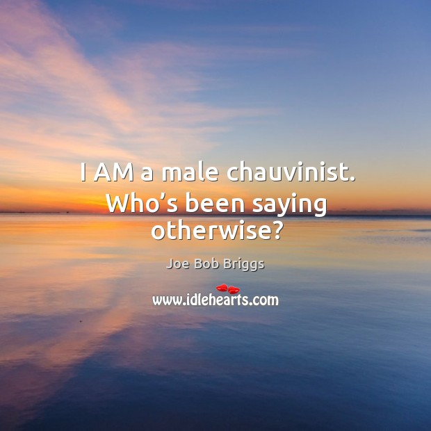 I am a male chauvinist. Who's been saying otherwise? Image