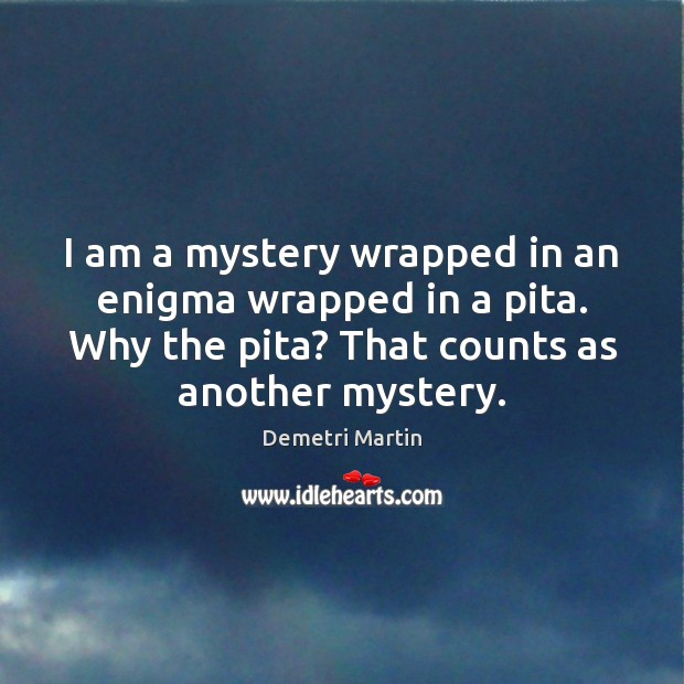 Image, I am a mystery wrapped in an enigma wrapped in a pita.