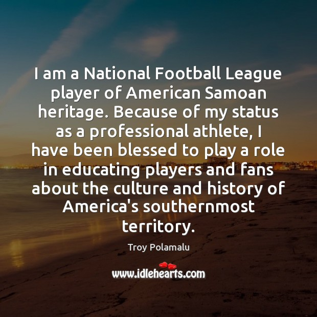 I am a National Football League player of American Samoan heritage. Because Troy Polamalu Picture Quote
