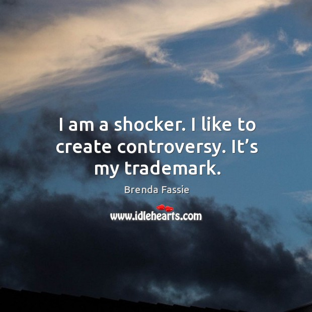 Image, I am a shocker. I like to create controversy. It's my trademark.