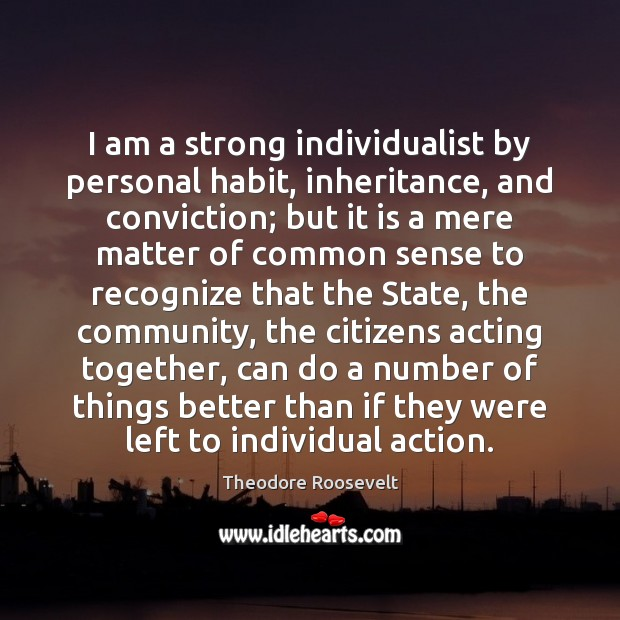 I am a strong individualist by personal habit, inheritance, and conviction; but Theodore Roosevelt Picture Quote