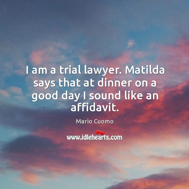 I am a trial lawyer. Matilda says that at dinner on a good day I sound like an affidavit. Mario Cuomo Picture Quote