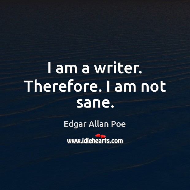 Image, I am a writer. Therefore. I am not sane.