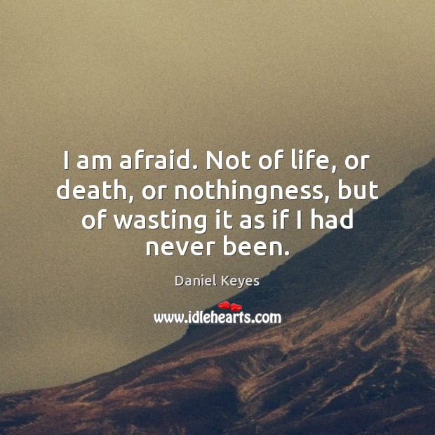 I am afraid. Not of life, or death, or nothingness, but of Image
