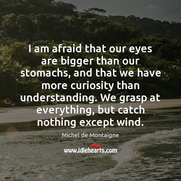 Image, I am afraid that our eyes are bigger than our stomachs, and