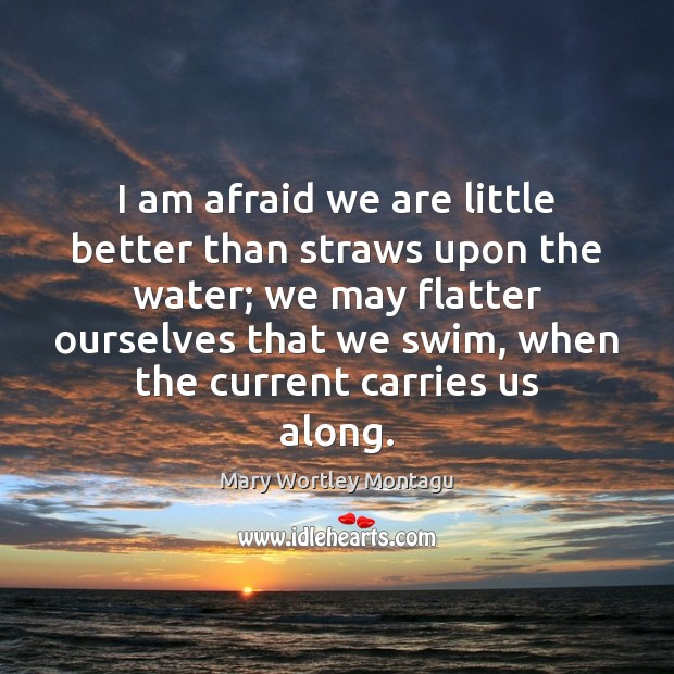 I am afraid we are little better than straws upon the water; Mary Wortley Montagu Picture Quote