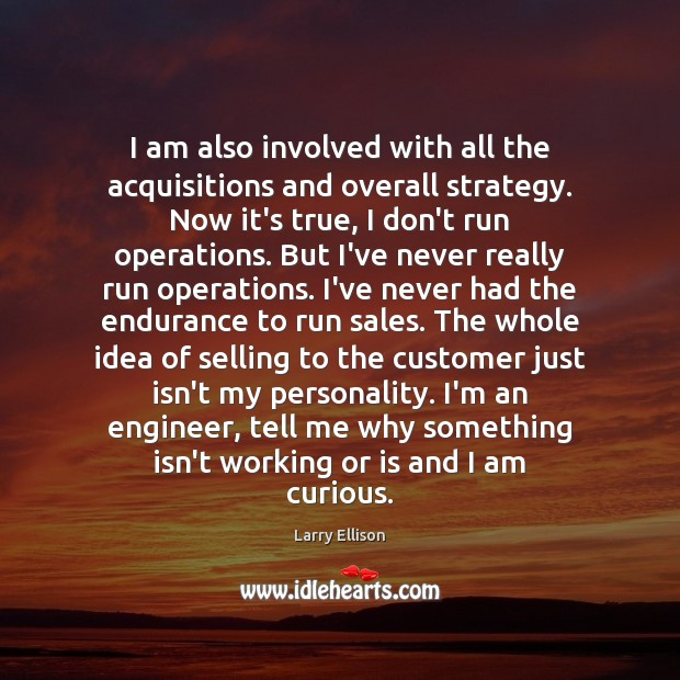 I am also involved with all the acquisitions and overall strategy. Now Larry Ellison Picture Quote