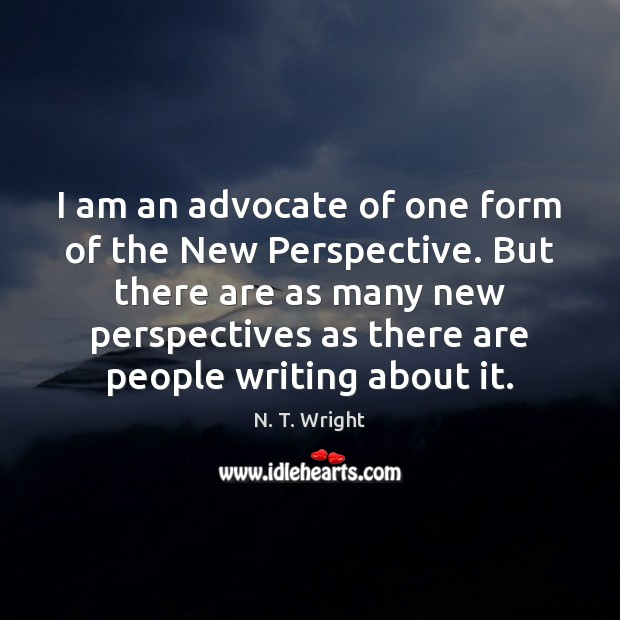 I am an advocate of one form of the New Perspective. But Image