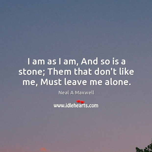 Image, I am as I am, And so is a stone; Them that don't like me, Must leave me alone.