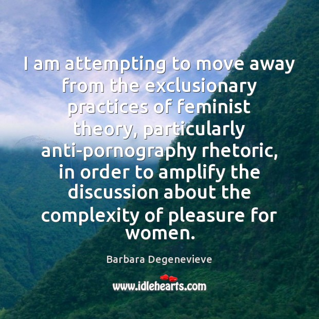 Image, I am attempting to move away from the exclusionary practices of feminist