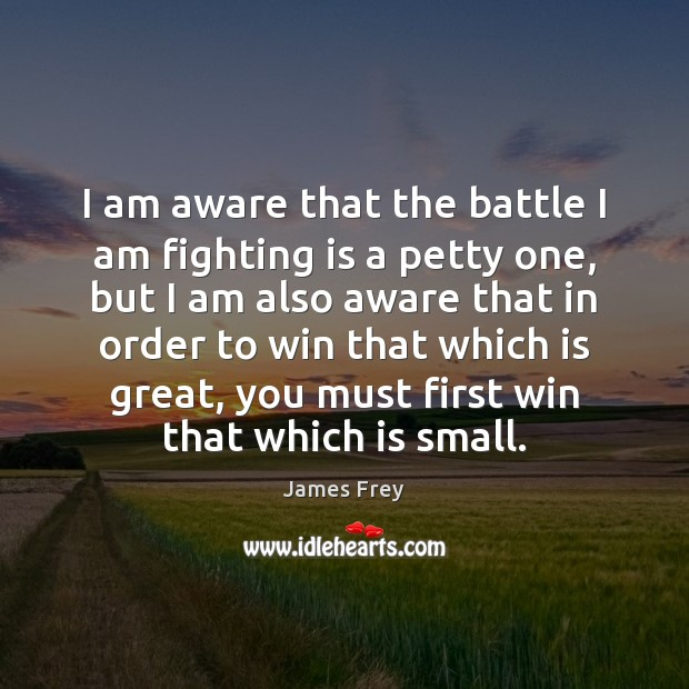 I am aware that the battle I am fighting is a petty James Frey Picture Quote