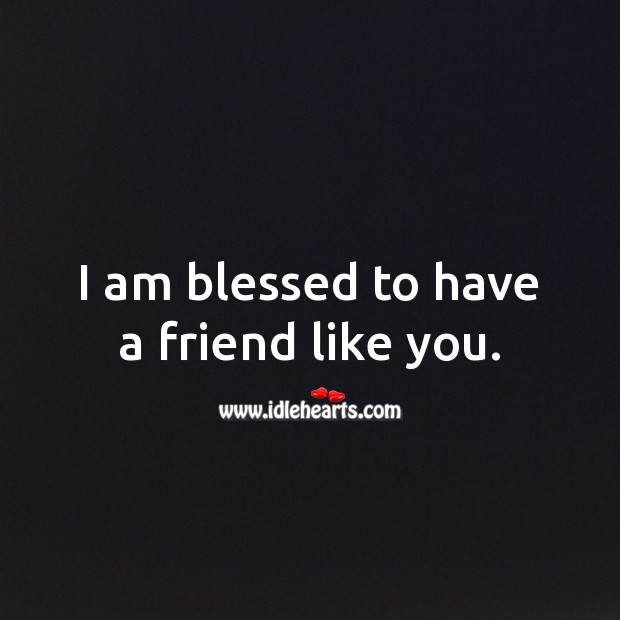 I am blessed to have a friend like you. Friendship Quotes Image
