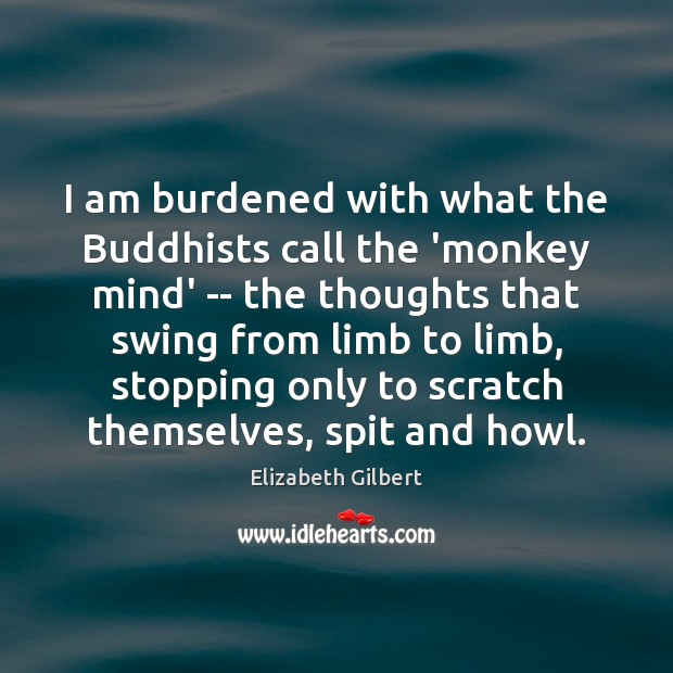 I am burdened with what the Buddhists call the 'monkey mind' — Elizabeth Gilbert Picture Quote