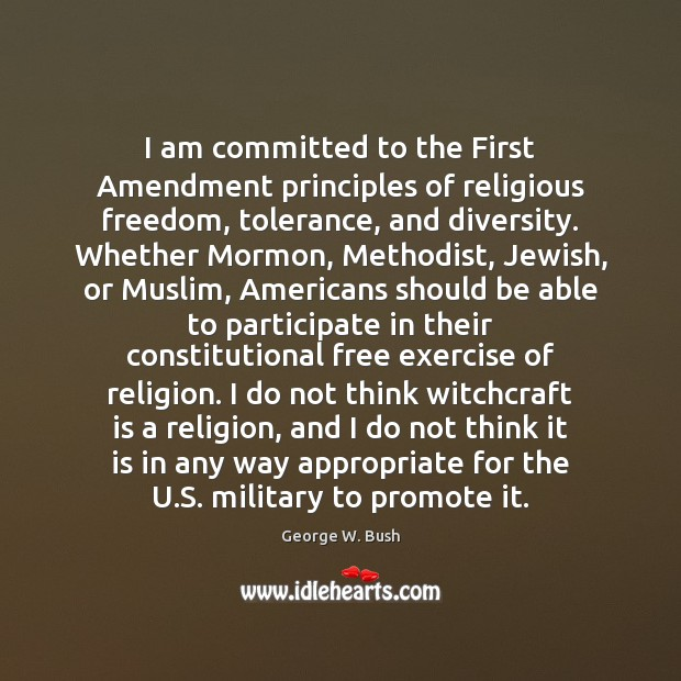 Image, I am committed to the First Amendment principles of religious freedom, tolerance,