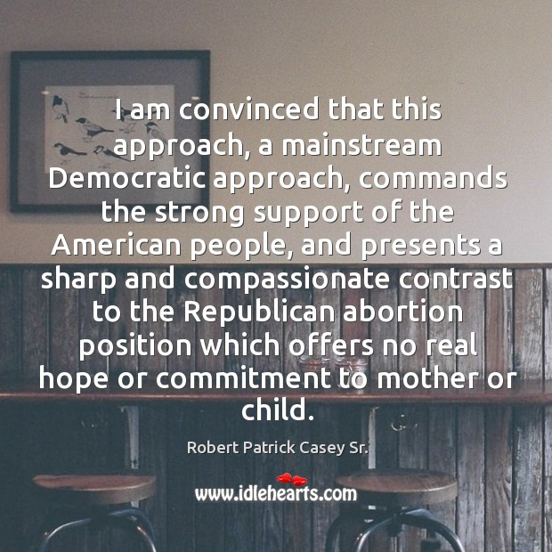 I am convinced that this approach, a mainstream democratic approach, commands the Image
