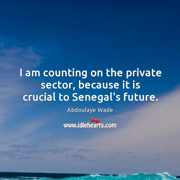Image, I am counting on the private sector, because it is crucial to Senegal's future.