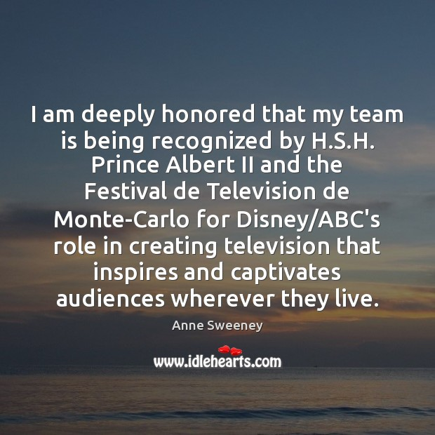 Image, I am deeply honored that my team is being recognized by H.