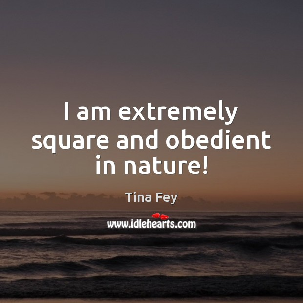 I am extremely square and obedient in nature! Tina Fey Picture Quote