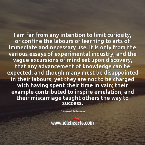 I am far from any intention to limit curiosity, or confine the Image