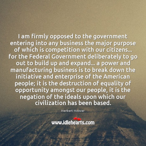 I am firmly opposed to the government entering into any business the Image