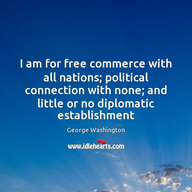 I am for free commerce with all nations; political connection with none; Image
