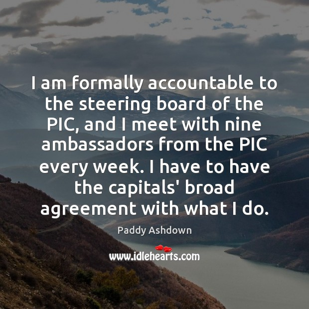 I am formally accountable to the steering board of the PIC, and Image