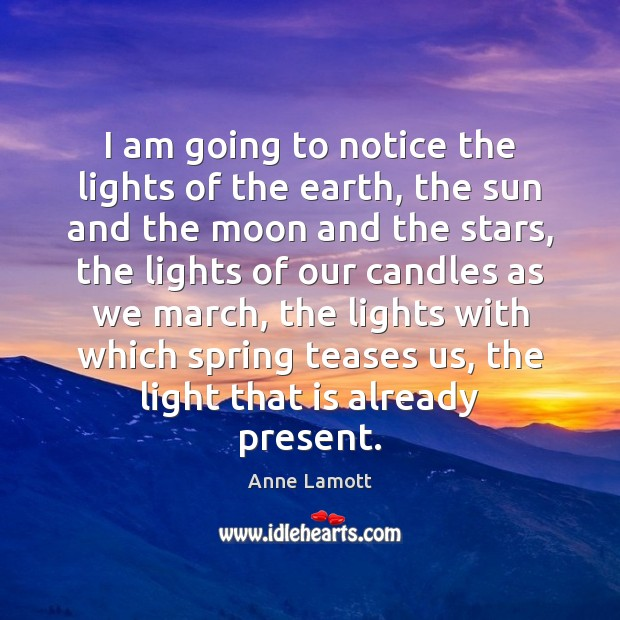 I am going to notice the lights of the earth, the sun Anne Lamott Picture Quote
