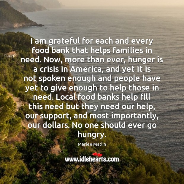 I am grateful for each and every food bank that helps families Hunger Quotes Image
