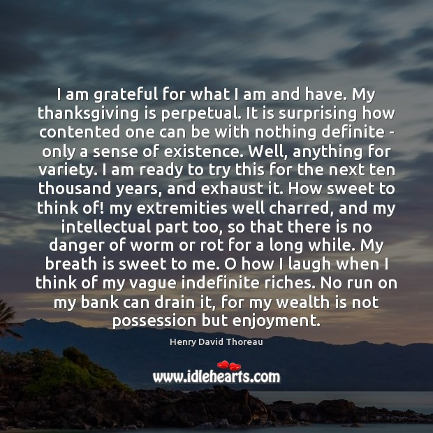 I am grateful for what I am and have. My thanksgiving is Wealth Quotes Image