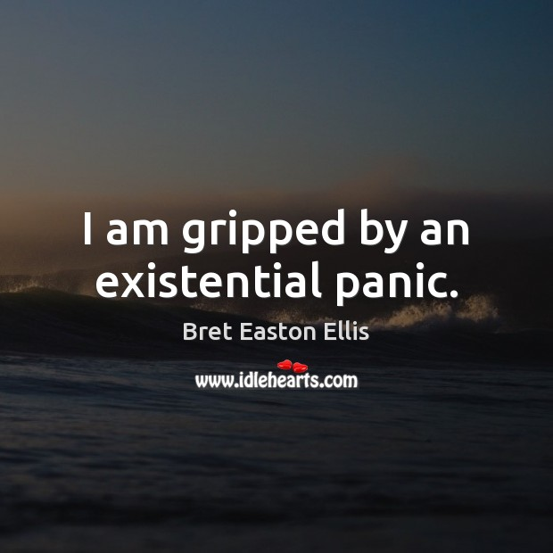 I am gripped by an existential panic. Bret Easton Ellis Picture Quote