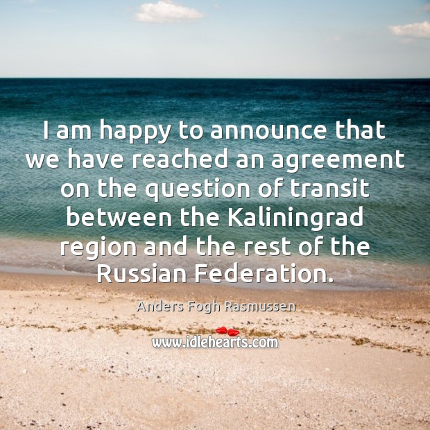 Image, I am happy to announce that we have reached an agreement on