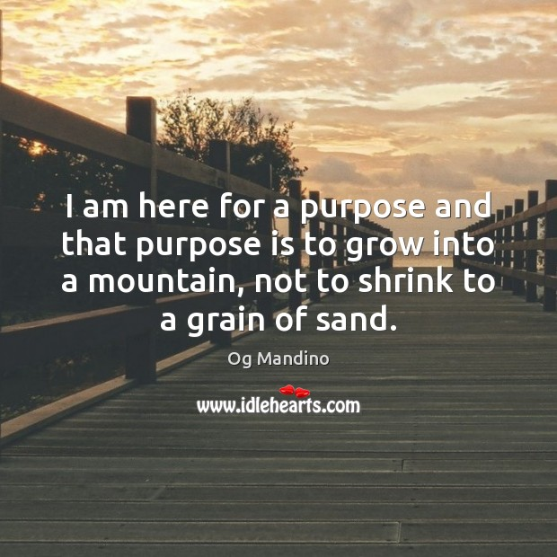 I am here for a purpose and that purpose is to grow Og Mandino Picture Quote