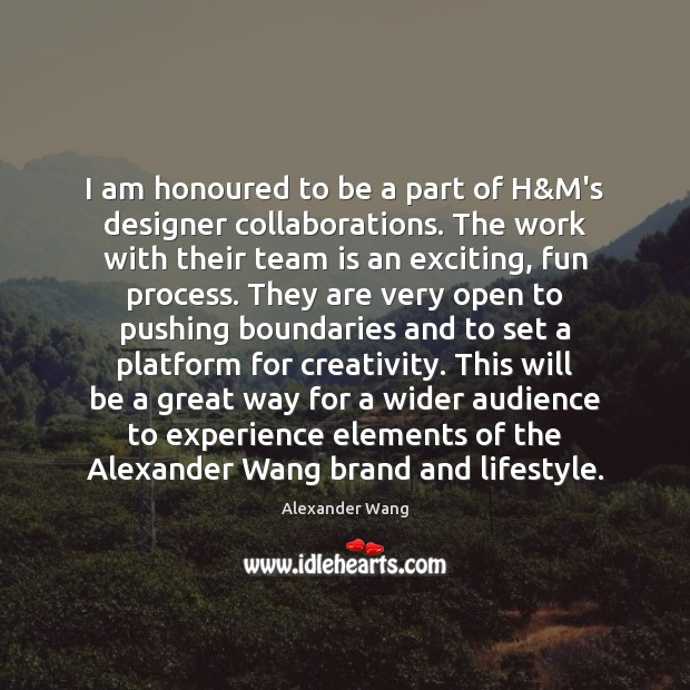 Image, I am honoured to be a part of H&M's designer collaborations.