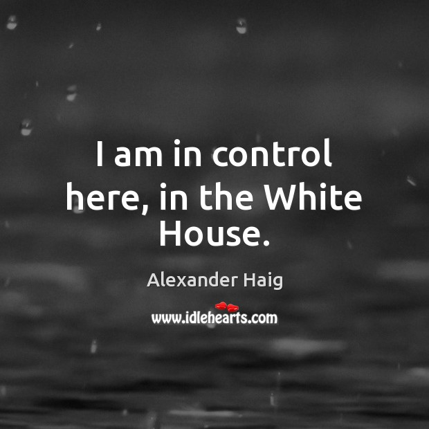 Image, I am in control here, in the White House.