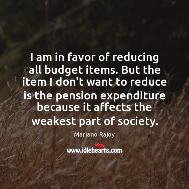 I am in favor of reducing all budget items. But the item Image