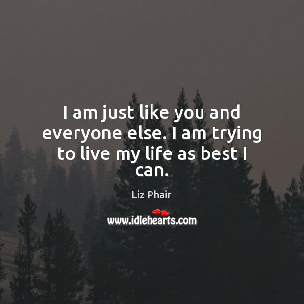 I am just like you and everyone else. I am trying to live my life as best I can. Liz Phair Picture Quote