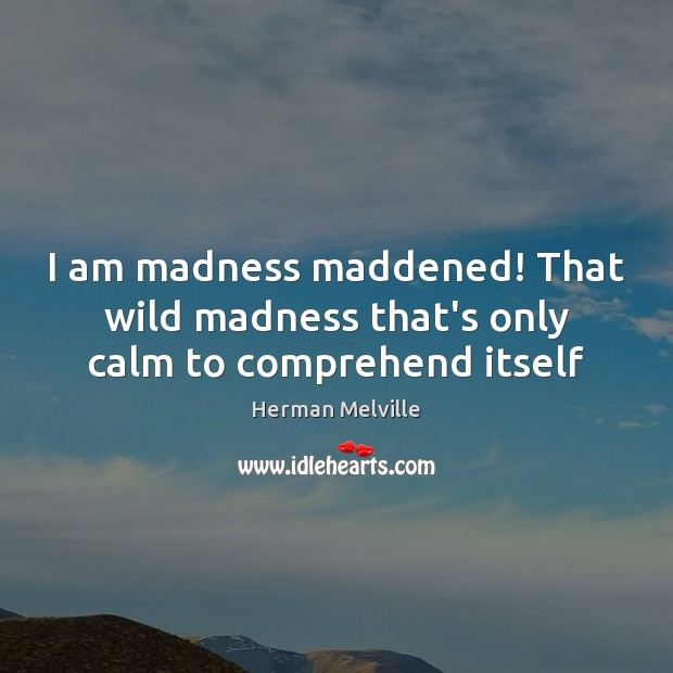 I am madness maddened! That wild madness that's only calm to comprehend itself Herman Melville Picture Quote