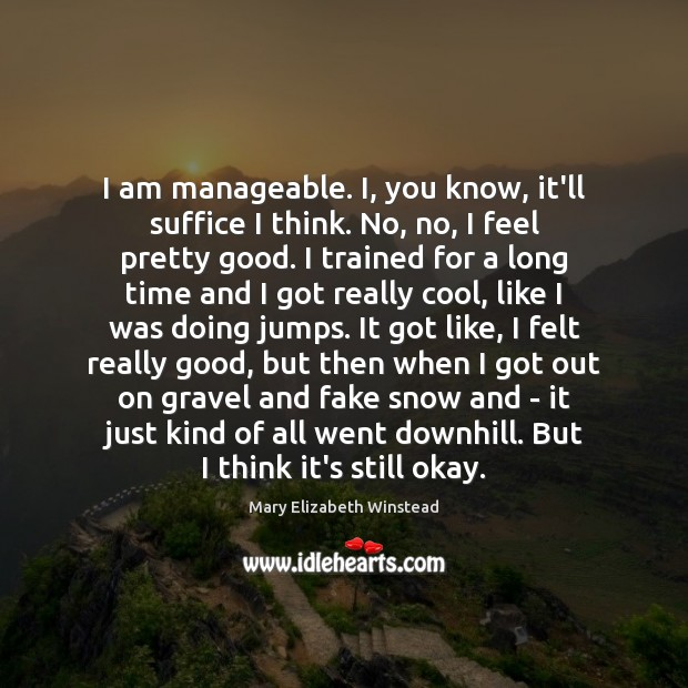 I am manageable. I, you know, it'll suffice I think. No, no, Mary Elizabeth Winstead Picture Quote