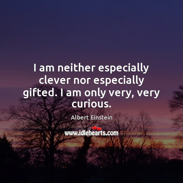 Image, I am neither especially clever nor especially gifted. I am only very, very curious.
