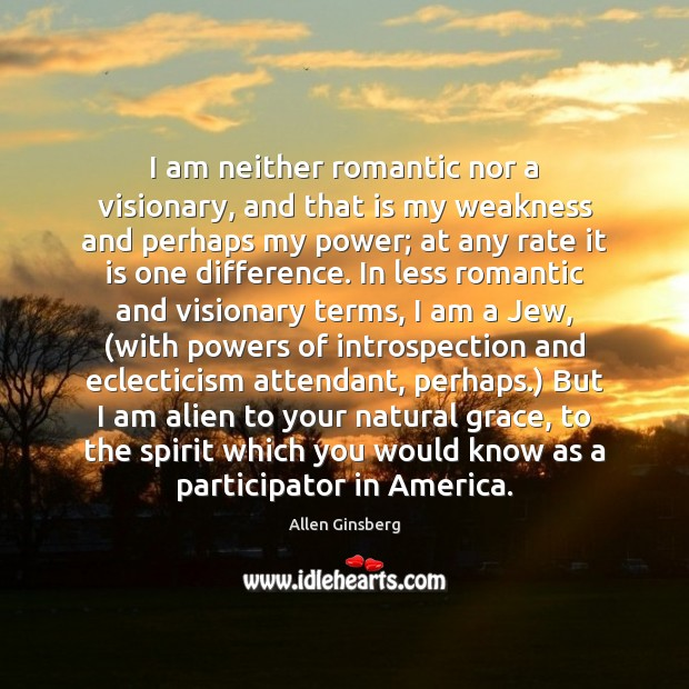 Image, I am neither romantic nor a visionary, and that is my weakness