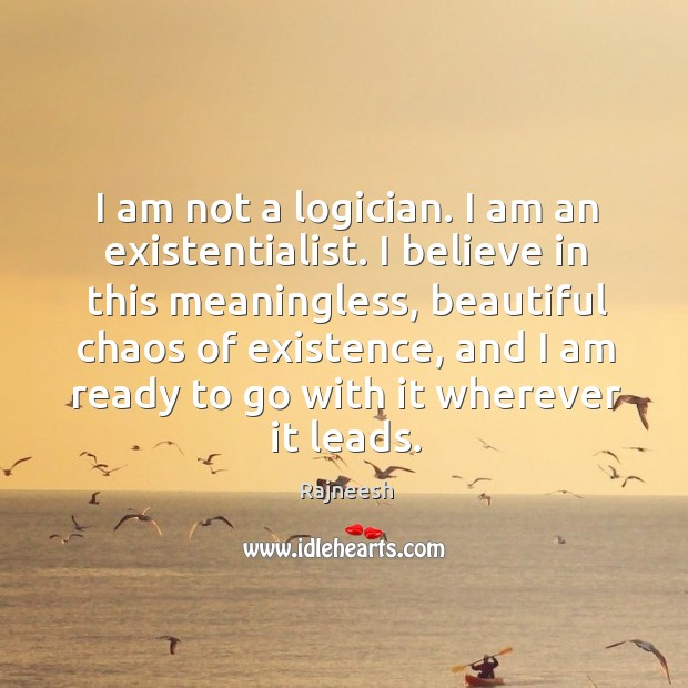 Image, I am not a logician. I am an existentialist. I believe in