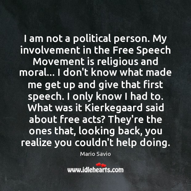 I am not a political person. My involvement in the Free Speech Image