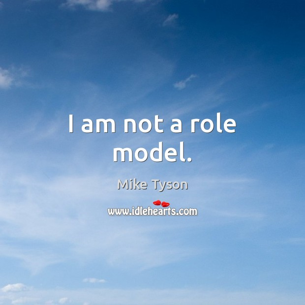 I am not a role model. Image