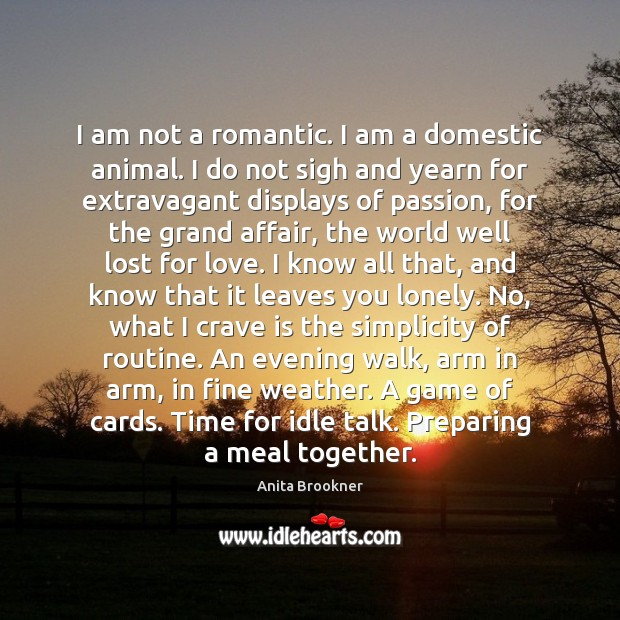 Image, I am not a romantic. I am a domestic animal. I do