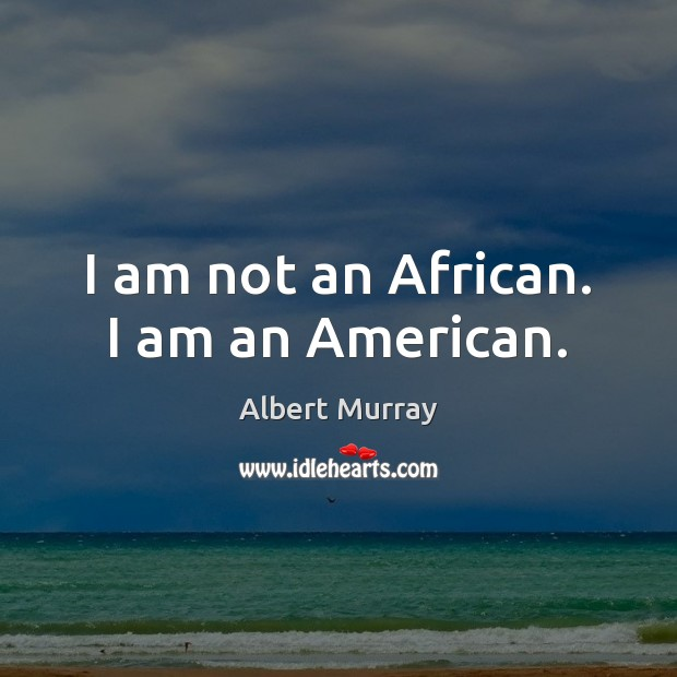 Image, I am not an African. I am an American.
