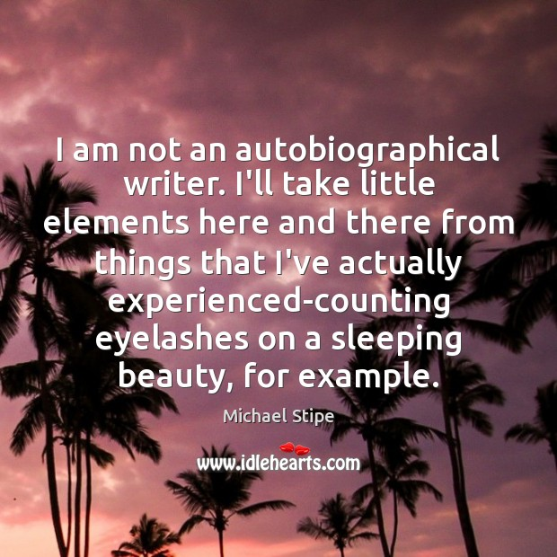 I am not an autobiographical writer. I'll take little elements here and Michael Stipe Picture Quote